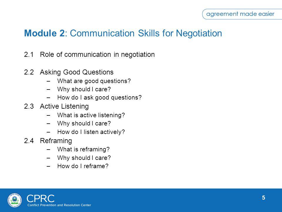 Module 2: Communication Skills for Negotiation