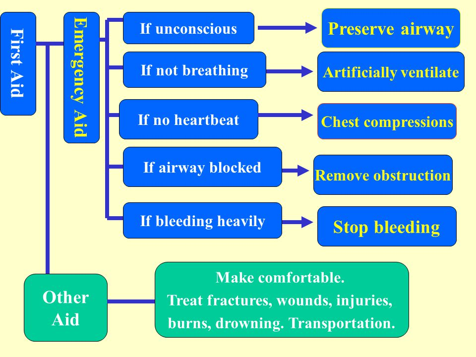 Preserve airway First Aid Emergency Aid Stop bleeding Other Aid