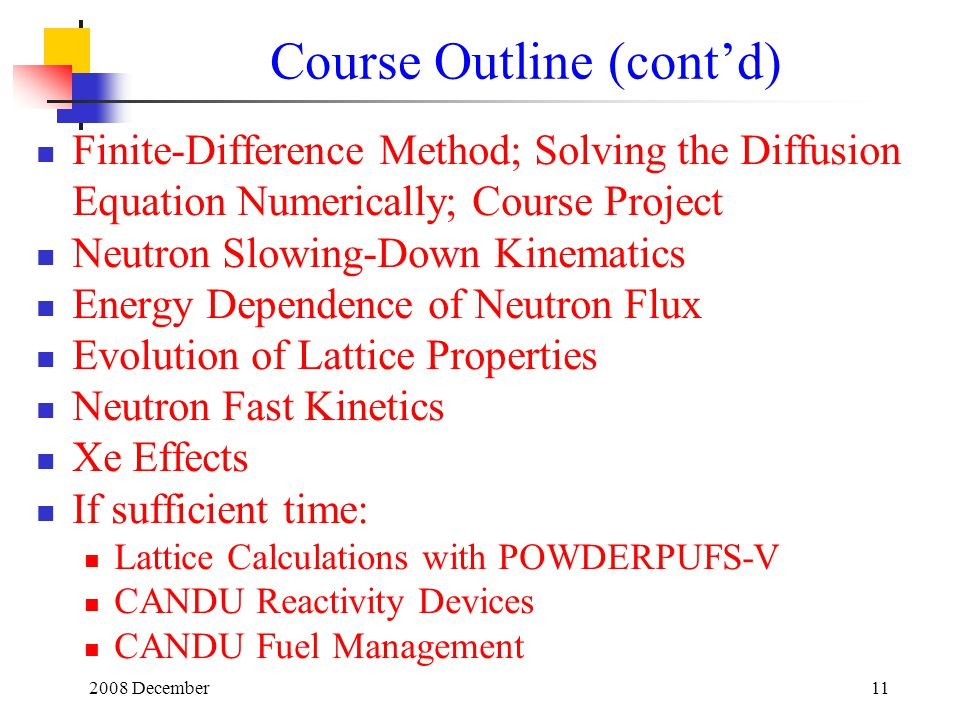 Course Outline (cont'd)