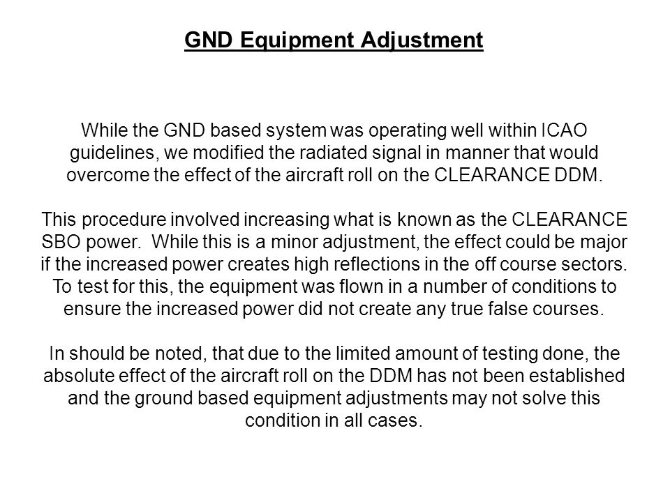 GND Equipment Adjustment