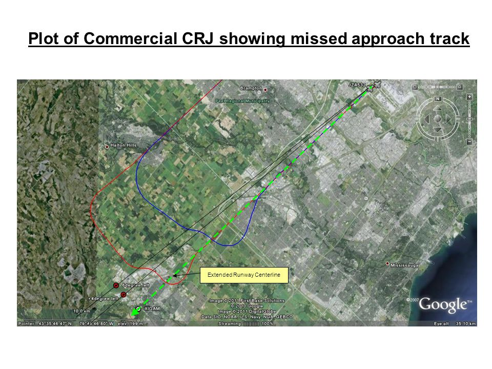 Plot of Commercial CRJ showing missed approach track