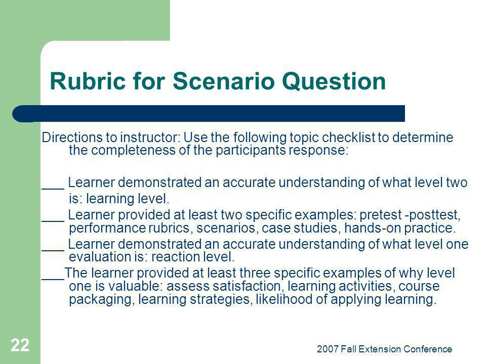 Rubric for Scenario Question