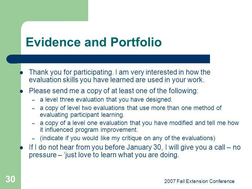 Evidence and Portfolio