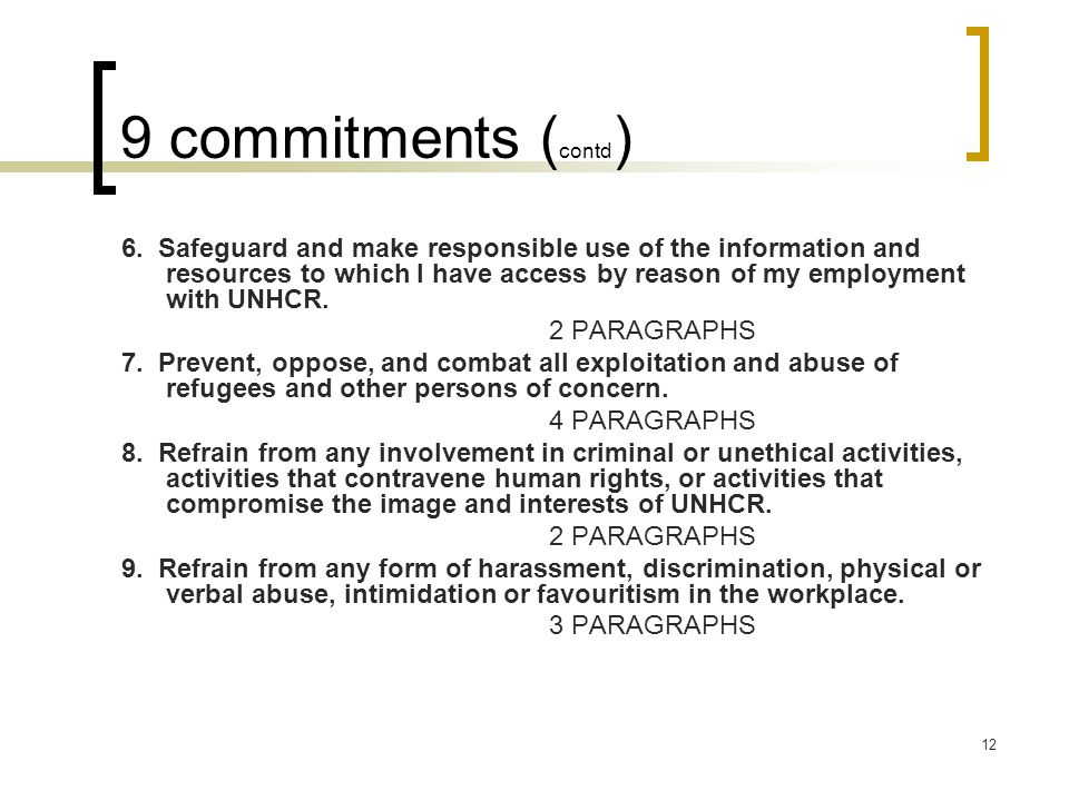 9 commitments (contd)