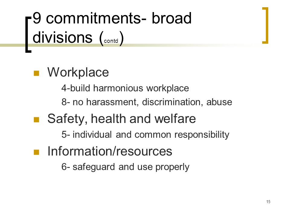 9 commitments- broad divisions (contd)