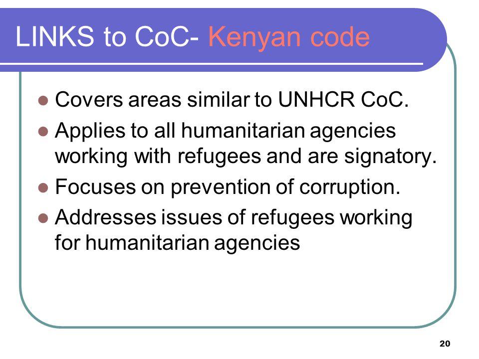 LINKS to CoC- Kenyan code