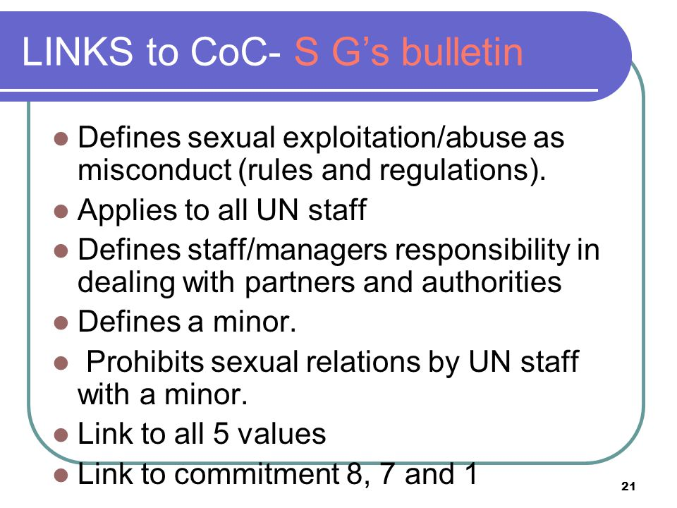 LINKS to CoC- S G's bulletin