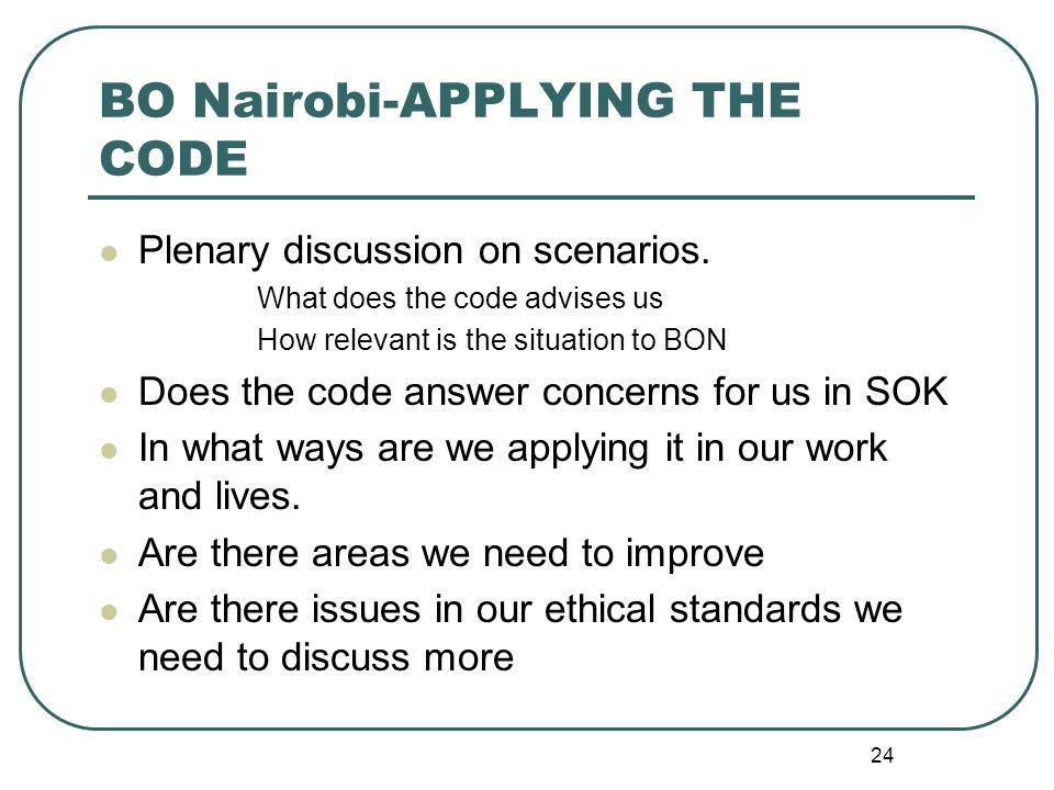 BO Nairobi-APPLYING THE CODE