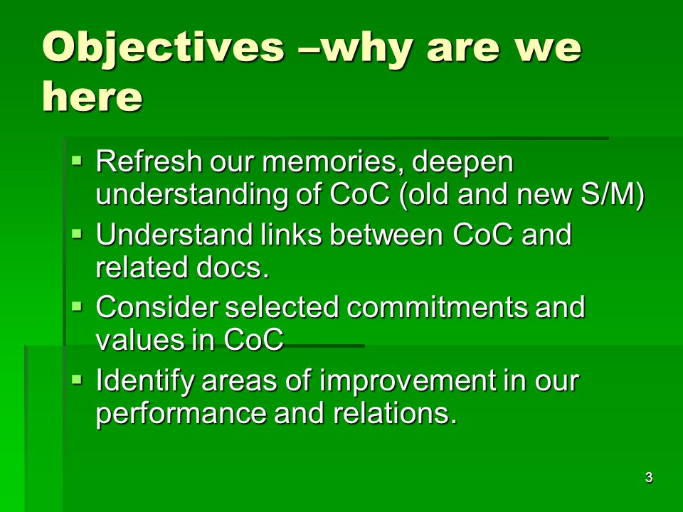 Objectives –why are we here