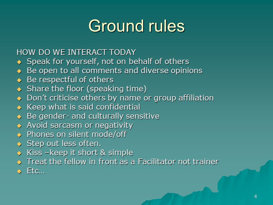 Ground rules HOW DO WE INTERACT TODAY