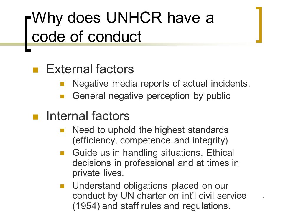Why does UNHCR have a code of conduct
