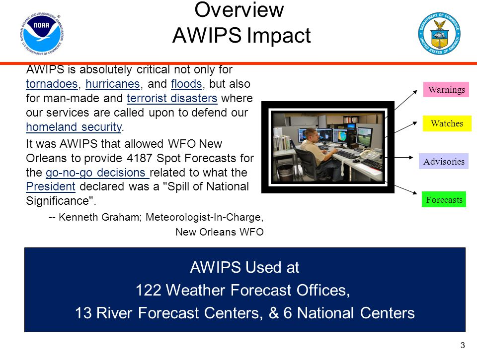 Overview AWIPS Impact AWIPS Used at 122 Weather Forecast Offices,