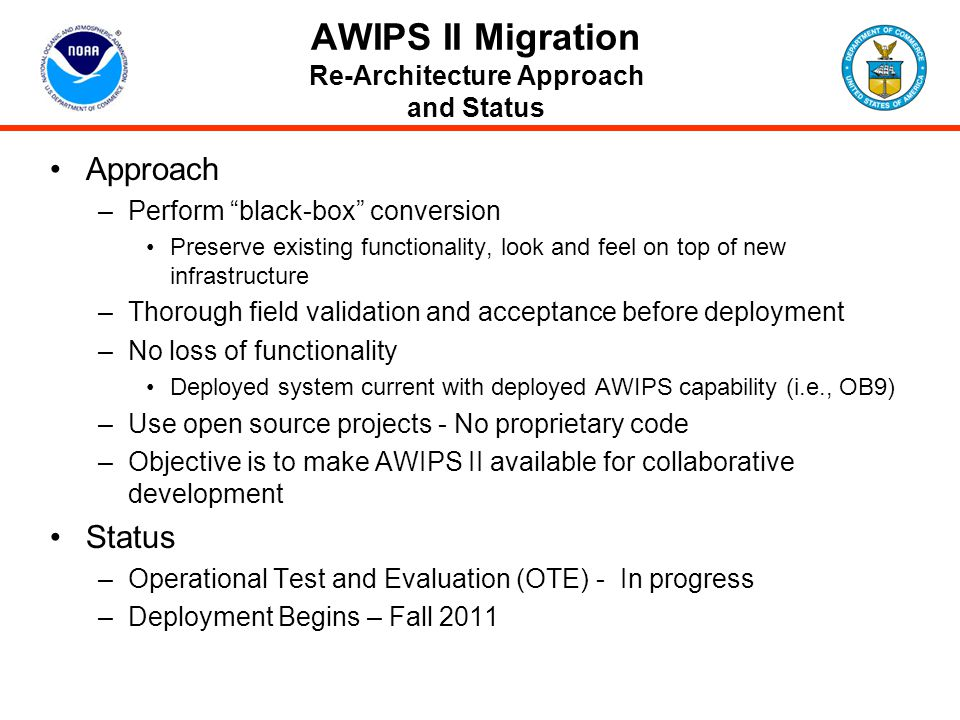 AWIPS II Migration Re-Architecture Approach and Status