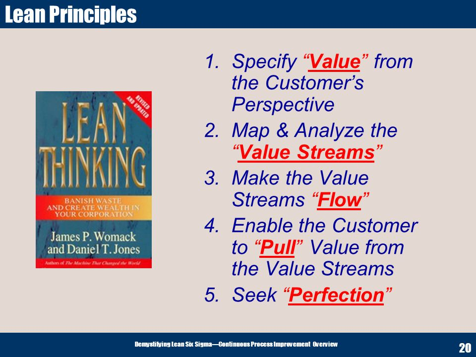 Lean Principles Specify Value from the Customer's Perspective
