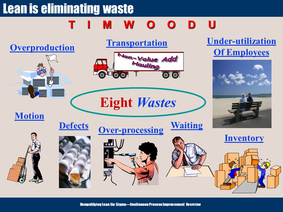 Non-Value Add Hauling Eight Wastes Lean is eliminating waste