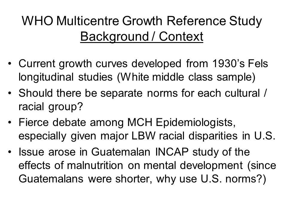 WHO Multicentre Growth Reference Study Background / Context
