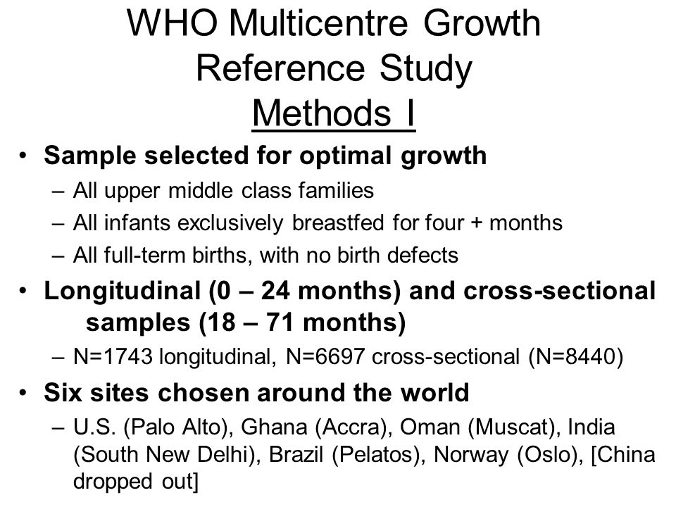 WHO Multicentre Growth Reference Study Methods I