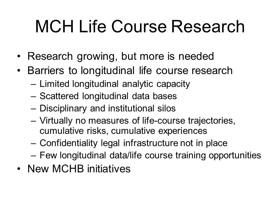 MCH Life Course Research