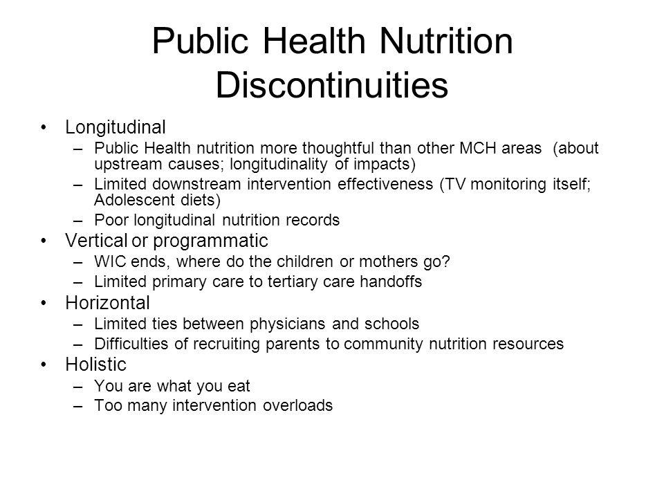 Public Health Nutrition Discontinuities
