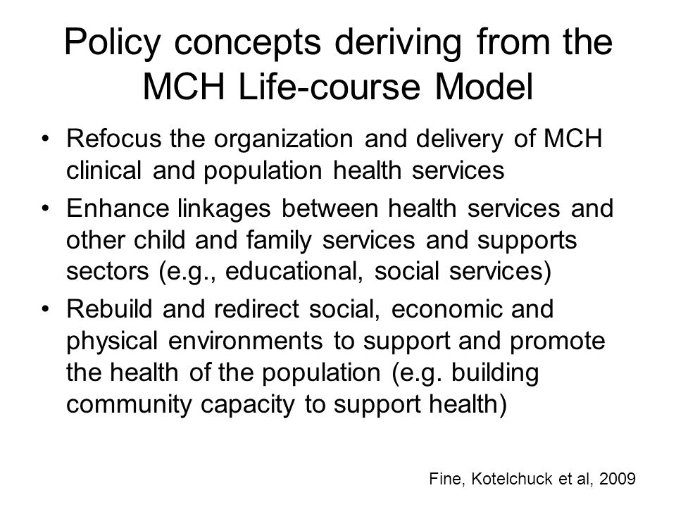 Policy concepts deriving from the MCH Life-course Model