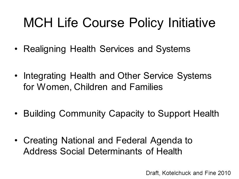 MCH Life Course Policy Initiative