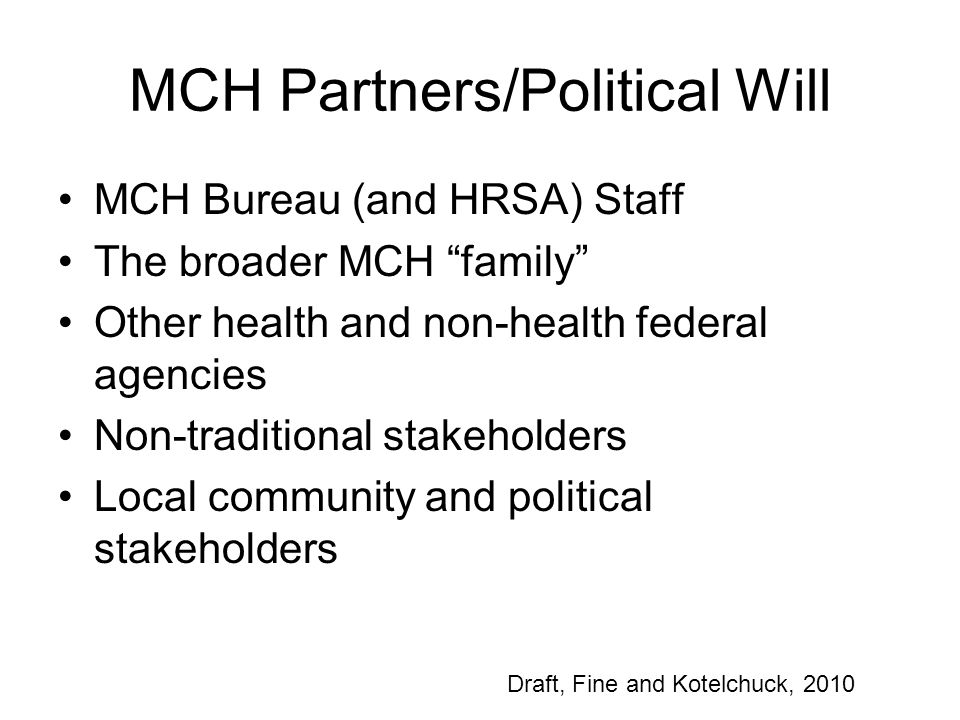 MCH Partners/Political Will