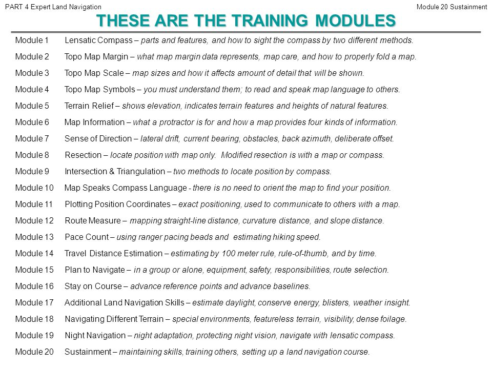THESE ARE THE TRAINING MODULES
