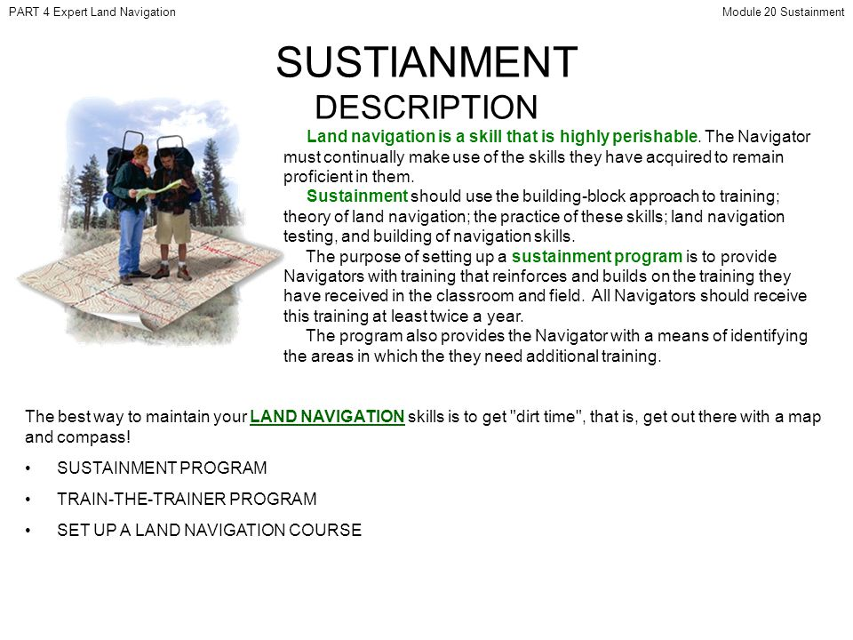 SUSTIANMENT DESCRIPTION