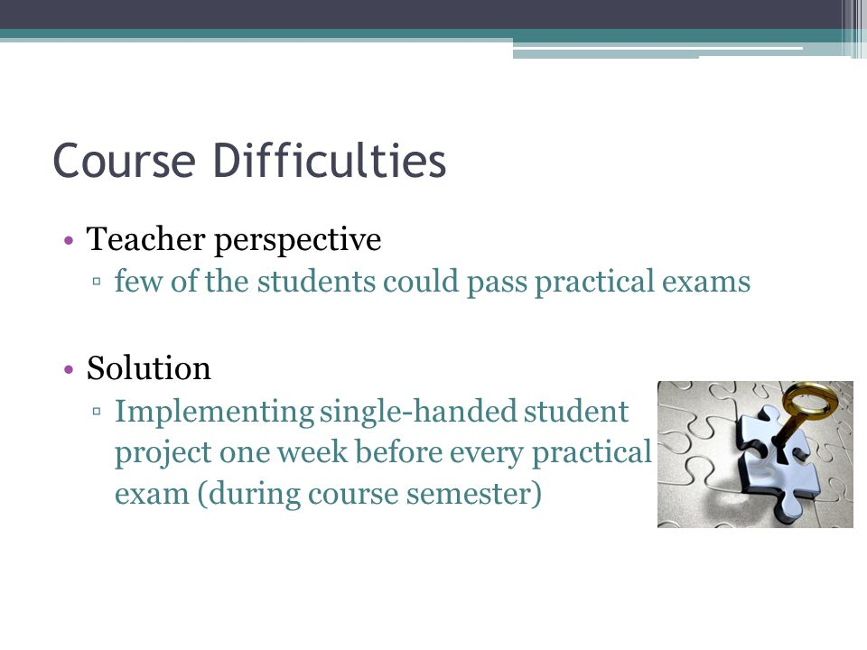 Course Difficulties Teacher perspective Solution