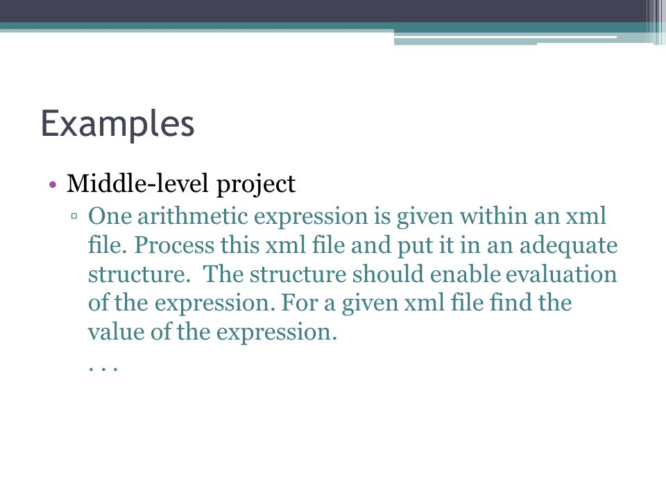 Examples Middle-level project