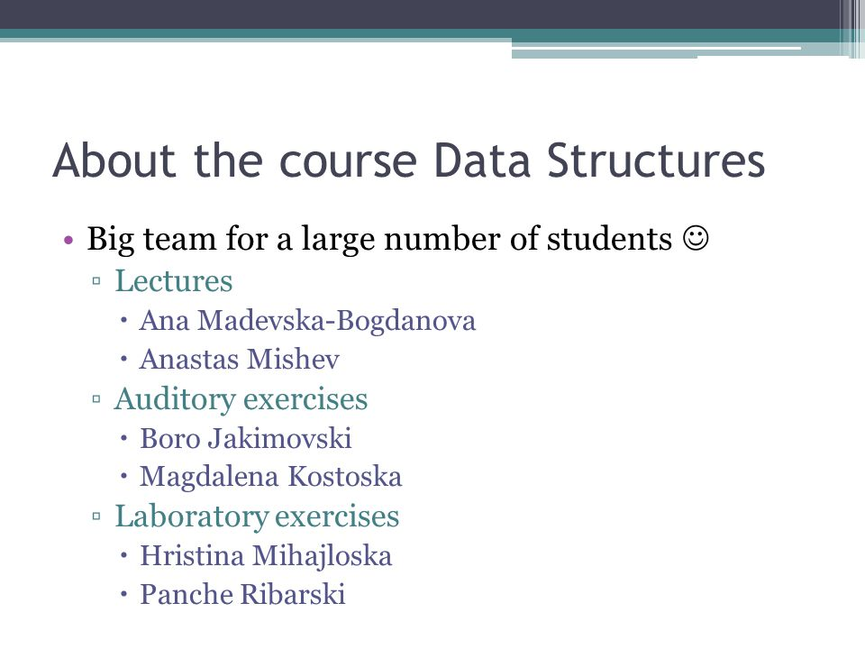 About the course Data Structures