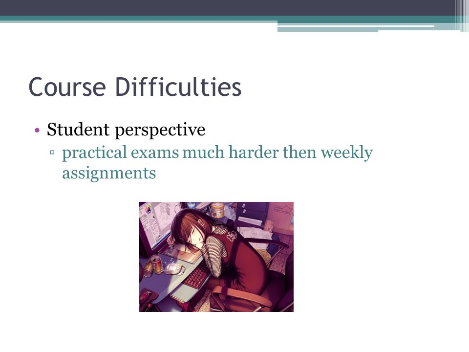 Course Difficulties Student perspective