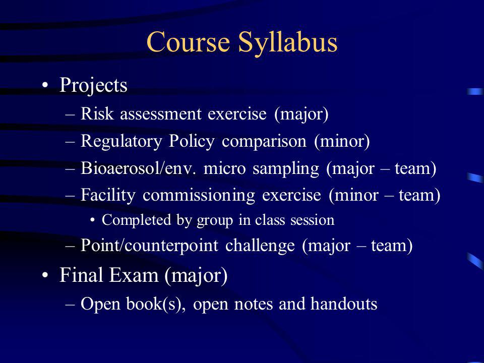 Course Syllabus Projects Final Exam (major)
