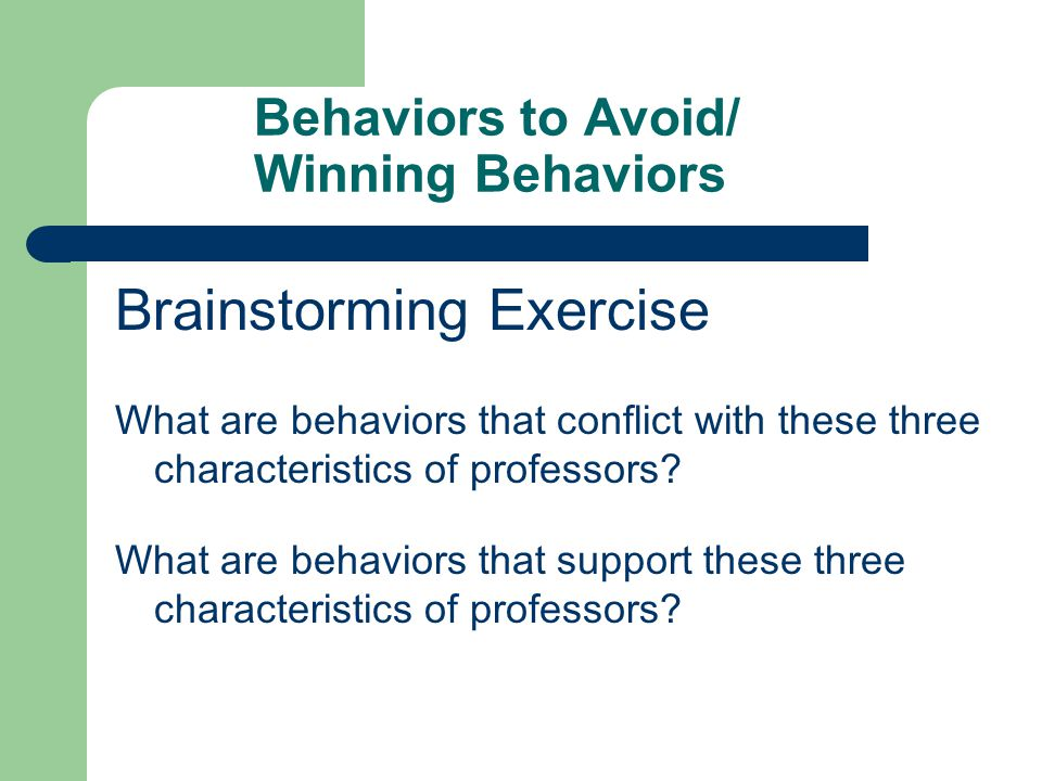 Behaviors to Avoid/ Winning Behaviors