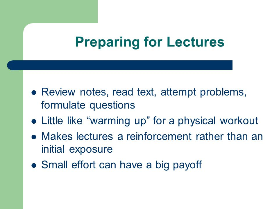 Preparing for Lectures