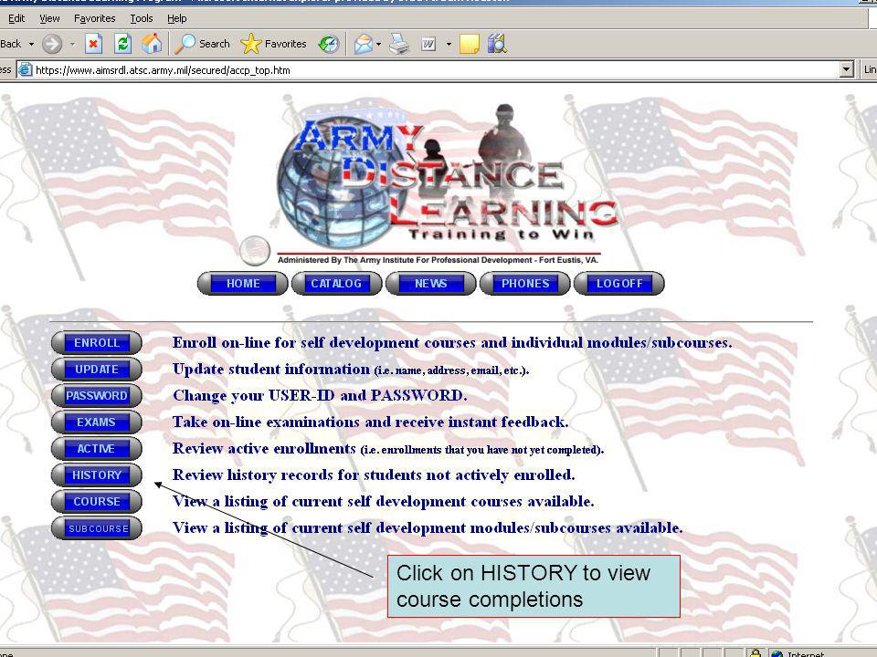 Click on HISTORY to view course completions