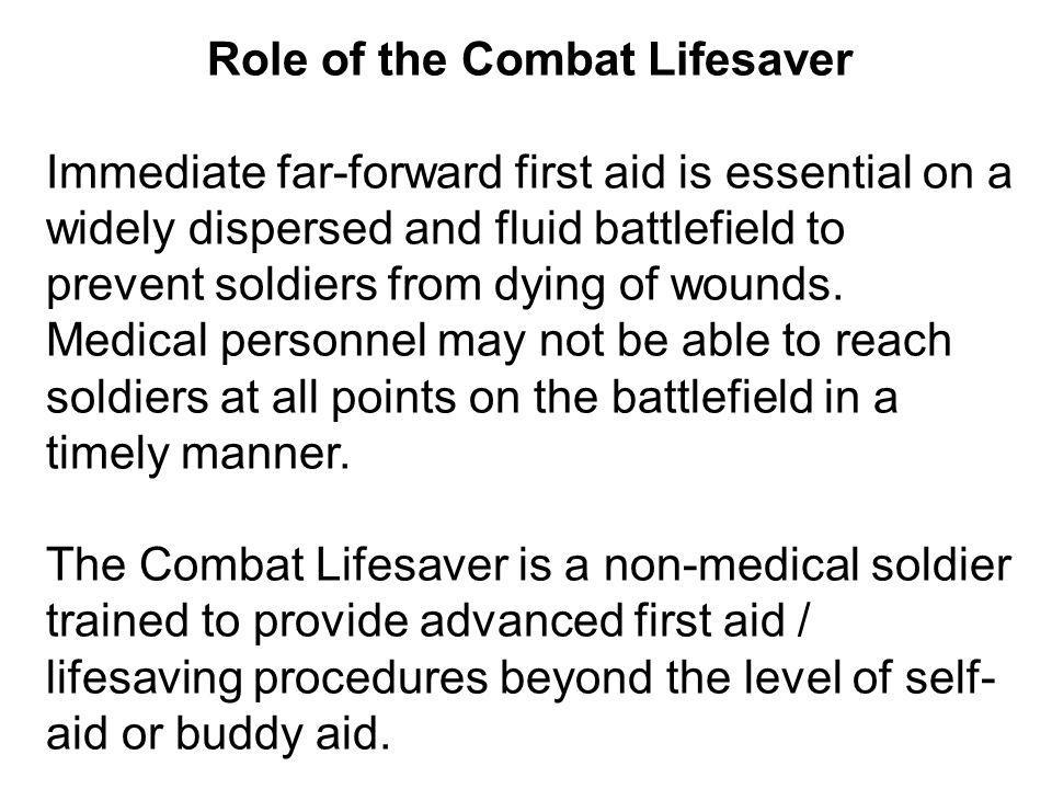 Role of the Combat Lifesaver