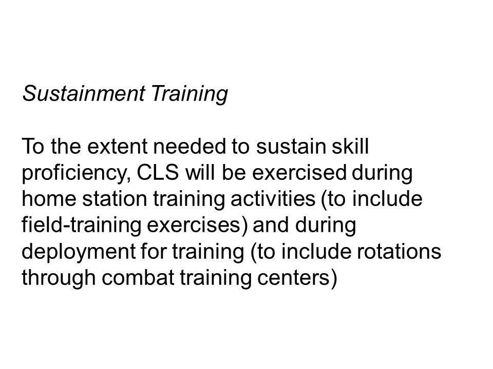 Sustainment Training
