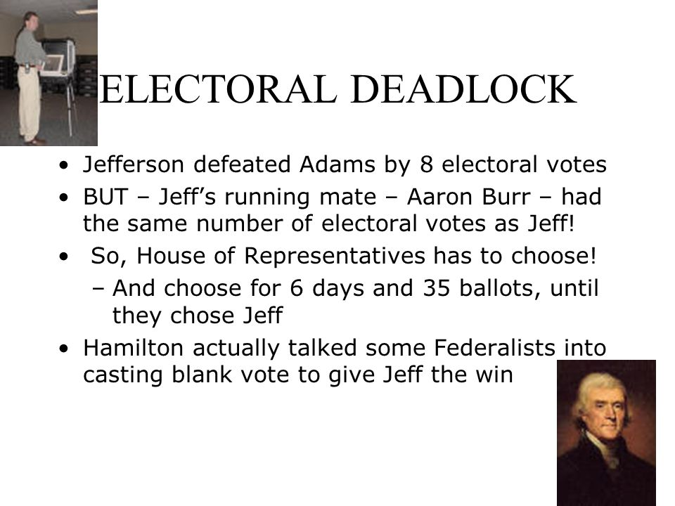ELECTORAL DEADLOCK Jefferson defeated Adams by 8 electoral votes