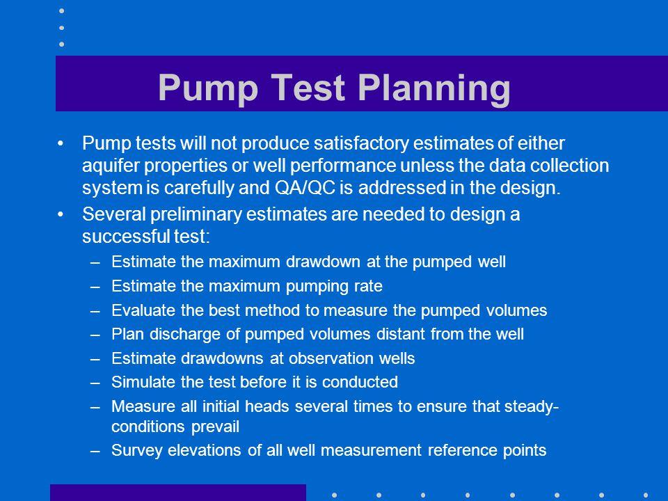 Pump Test Planning