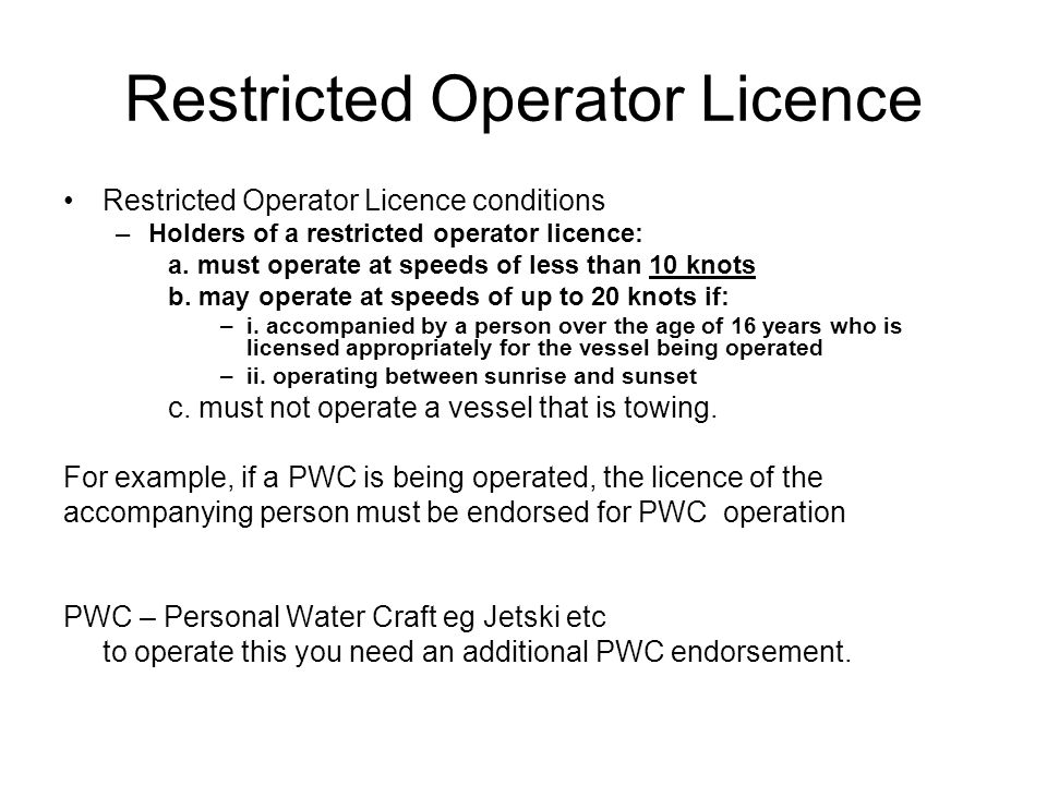 Restricted Operator Licence