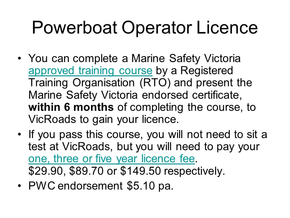 Powerboat Operator Licence