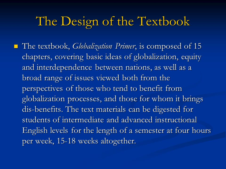 The Design of the Textbook