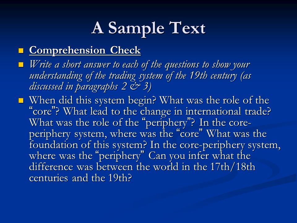 A Sample Text Comprehension Check