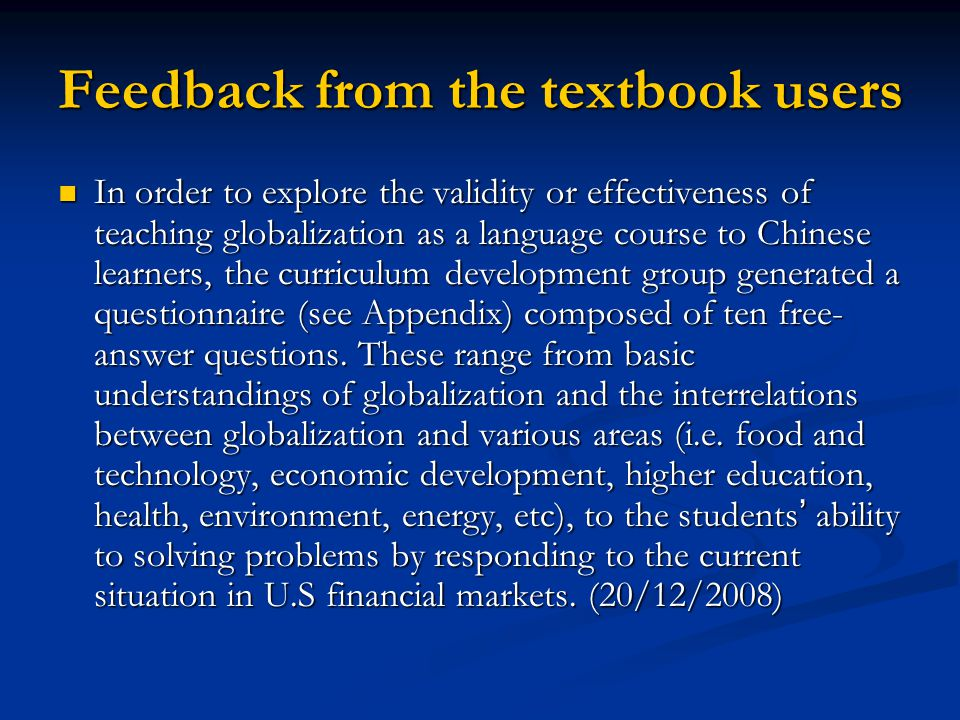 Feedback from the textbook users