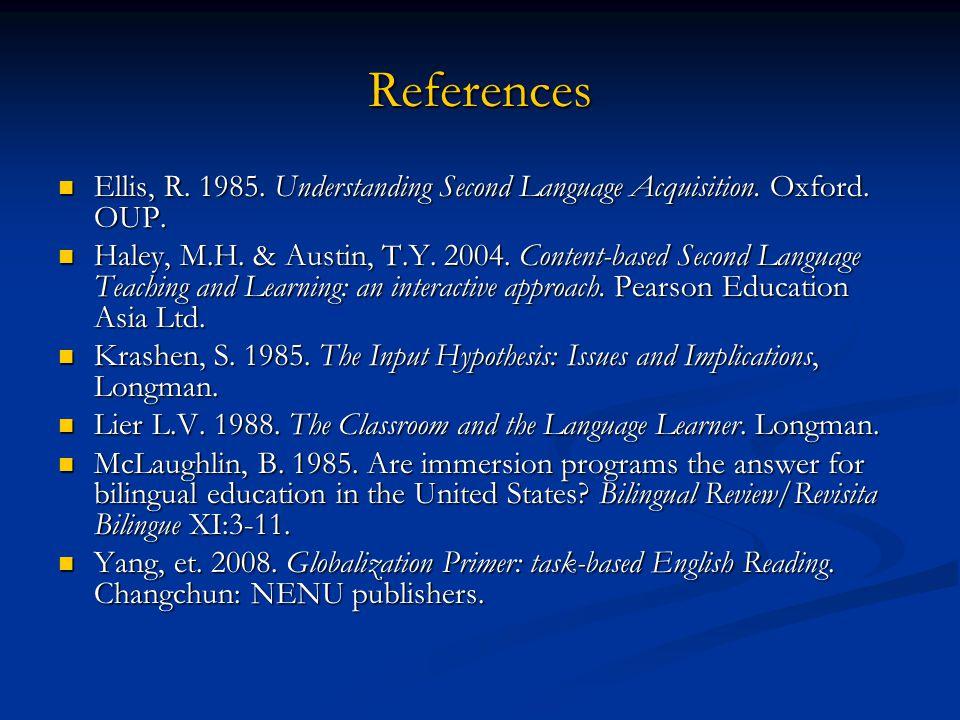 References Ellis, R. 1985. Understanding Second Language Acquisition. Oxford. OUP.