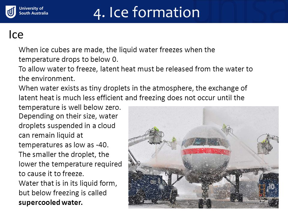 4. Ice formation Ice. When ice cubes are made, the liquid water freezes when the temperature drops to below 0.