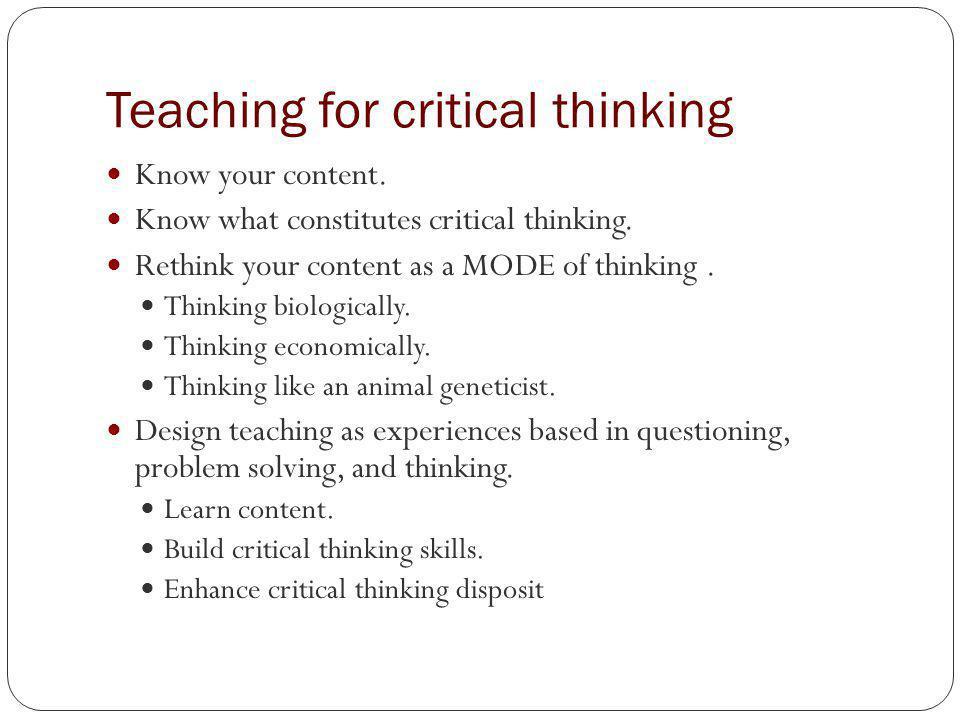 Teaching Strategies For Critical Thinking Skills