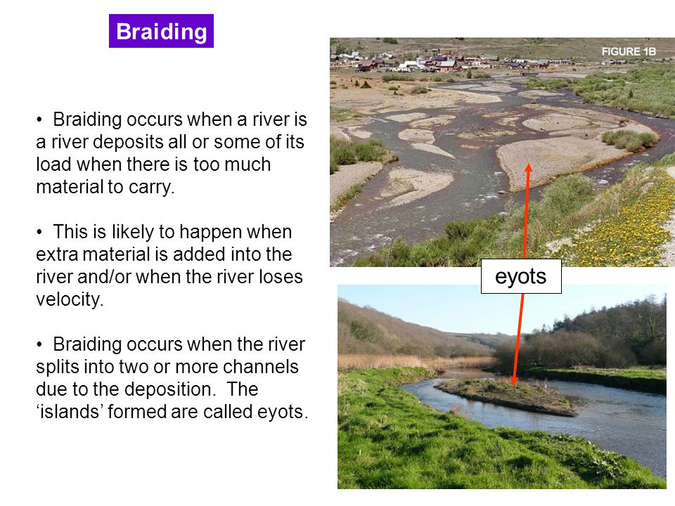 Braiding Braiding occurs when a river is a river deposits all or some of its load when there is too much material to carry.