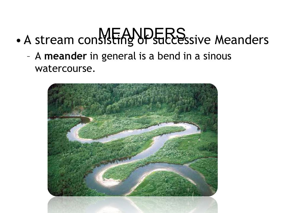 MEANDERS A stream consisting of successive Meanders